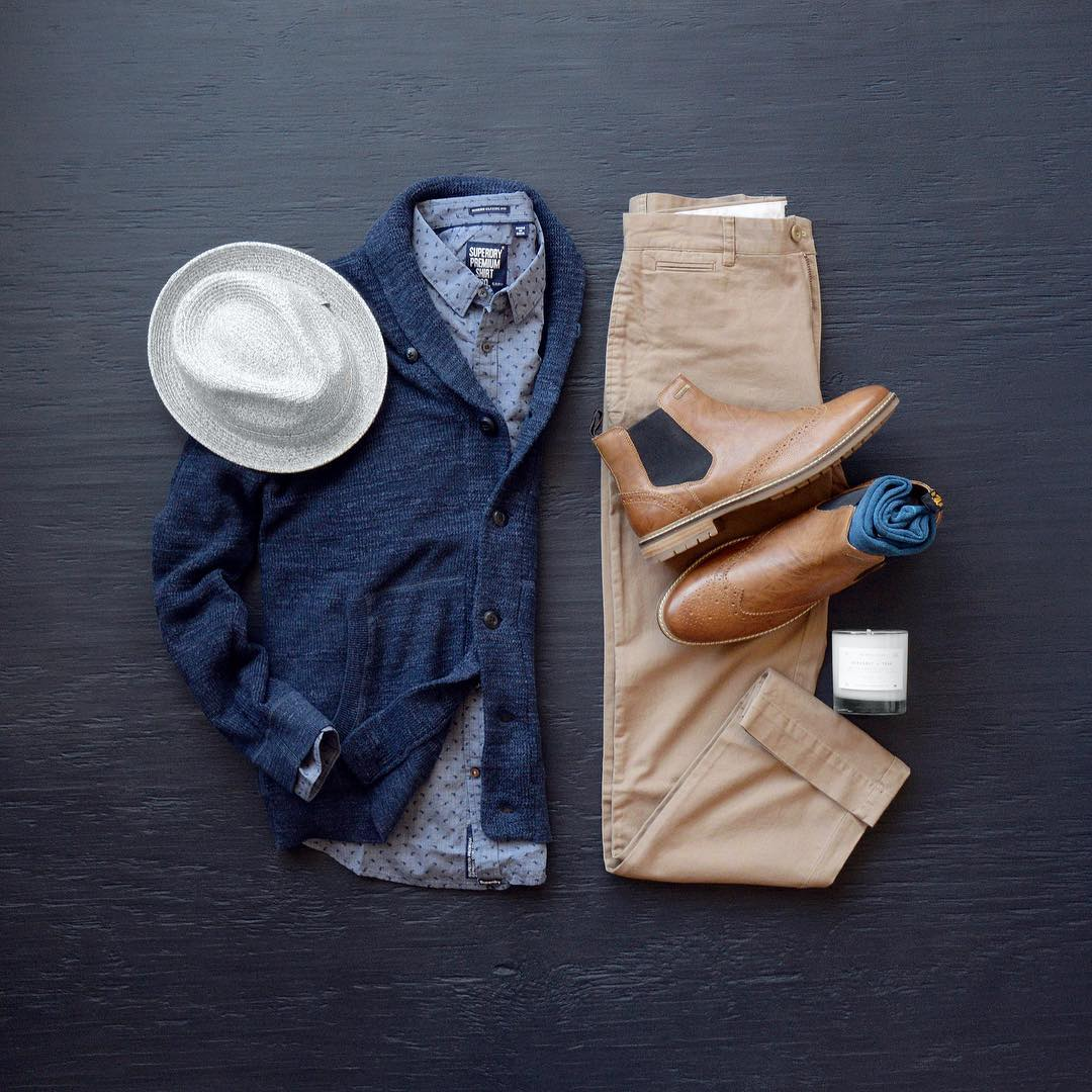 Cardigan  Grayers    Shirt  SuperDry    Chinos  Grayers    Hat  Bailey Hats     Boots  SuperDry    Socks  Stance Socks    Candle  Manready Mercantile 2791504a5030