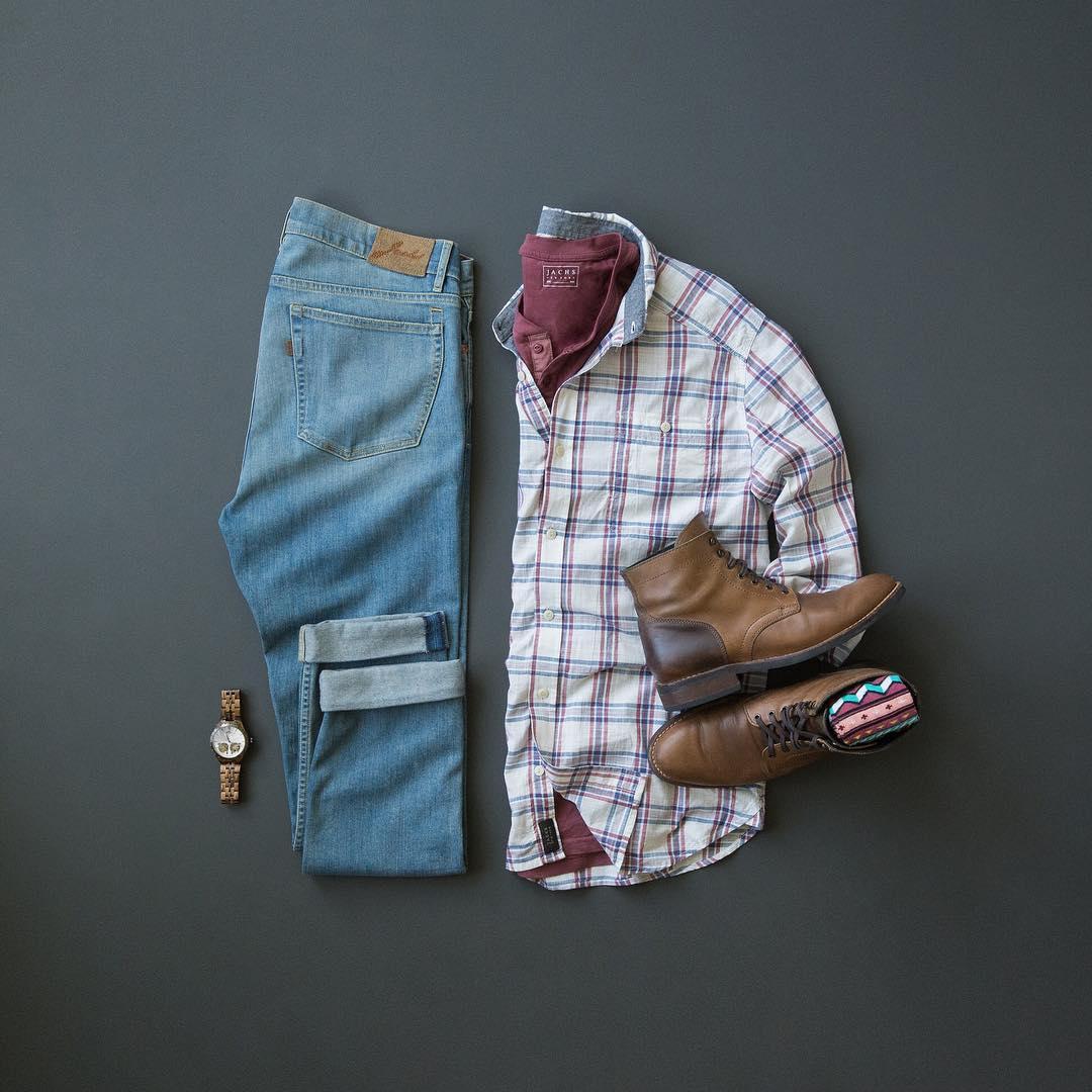 9a482e77e2746d Shirt: Jachs NY // Henley: Jachs NY // Denim: Jachs NY // Boots: Thursday  Boots // Watch: Jord // Socks: Keep It Simple Socks